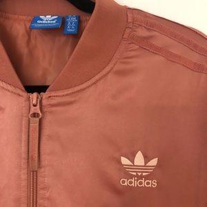Pink/Rose Gold Adidas Bomber Puff Jacket